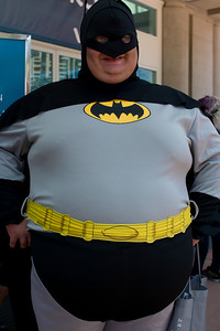 Every Man a Hero. No offense to Batman, but his belly is so big that his face is out of focus in the depth of field. But I love the costume and this big guy's hero spirit.