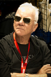 """Malcolm McDowell. The actor scared away people from the """"Clockwork Orange"""" Comic-Con 2010 booth. This is a crop."""